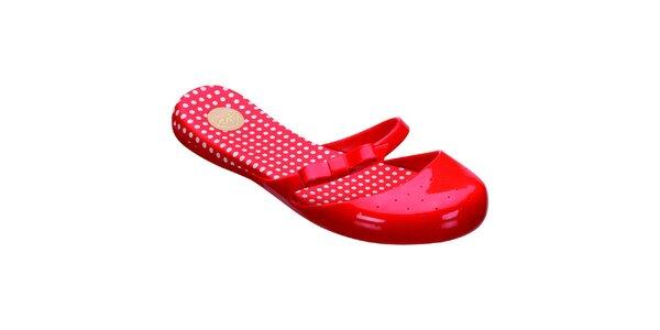 Dámské červené botičky s puntíky Mel