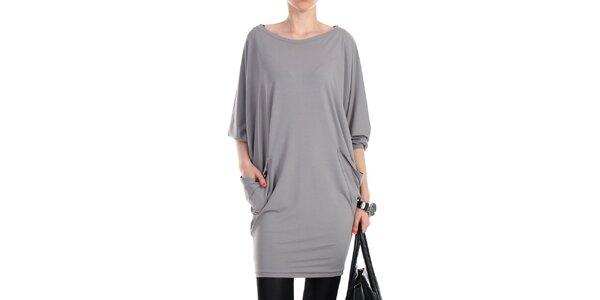 Dámské šedé volné šaty s kapsami na bocích Yulia Babich