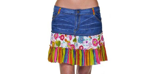 Dámská džínová sukně s barevným lemem Peace&Love
