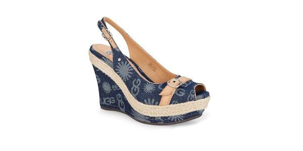 Dámské modré džínové sandálky Ugg s potiskem