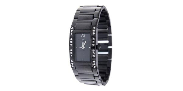 Dámské černé ocelové hodinky Tom Tailor s kamínky
