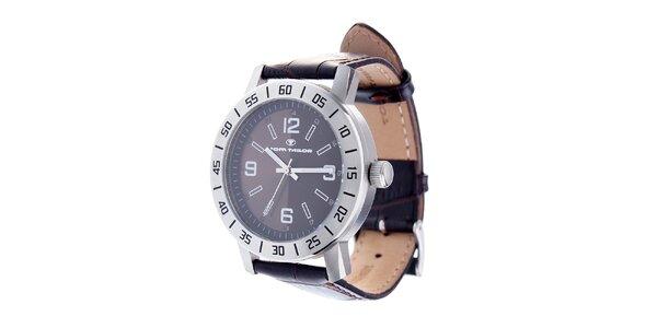 Ocelové hodinky Tom Tailor s tmavě hnědým koženým řemínkem