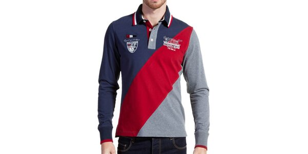 Pánské trojbarevné triko s šedými zády Galvanni