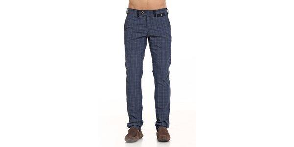 Pánské modré kárované kalhoty Galvanni