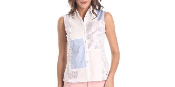 Dámská bílá vzorovaná košile bez rukávů Galvanni
