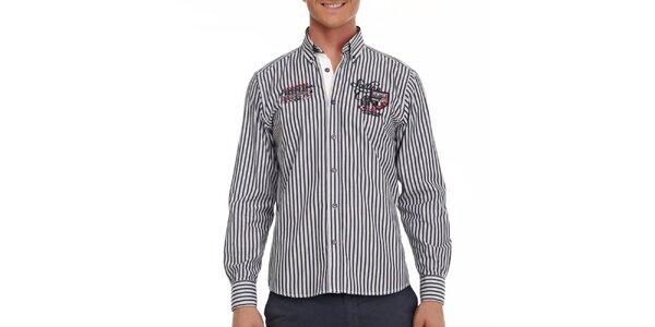 Pánská bílo-modrá pruhovaná košile Galvanni