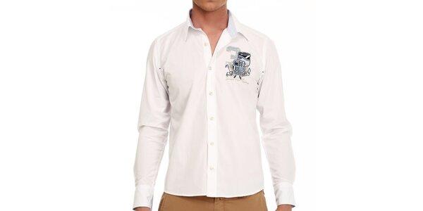 Pánská sněhobílá košile s nášivkami Galvanni