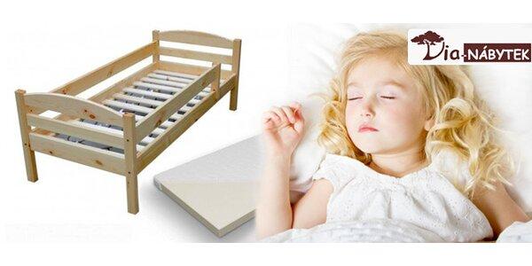 Dětská postel z masivu včetně roštu a matrace