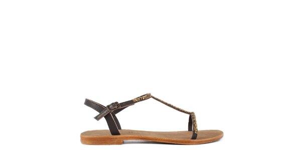 Dámské hnědé kožené sandály Gardini