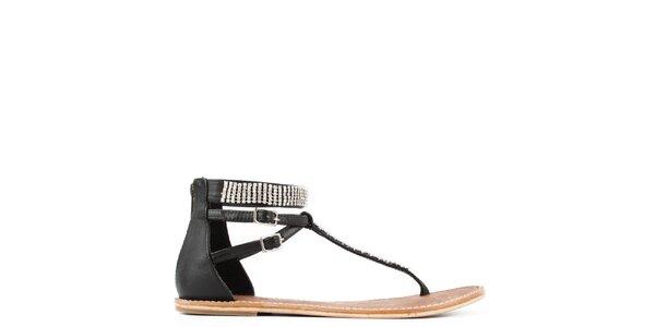 Dámské černé kožené sandály s přezkami Gardini