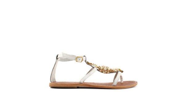 Dámské bílé kožené sandály s perlami Gardini