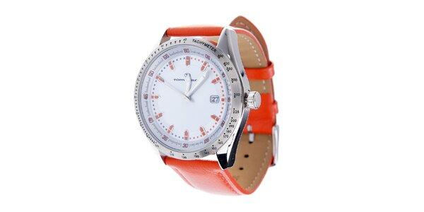 Stylové ocelové hodinky Tom Tailor s oranžovým koženým řemínkem