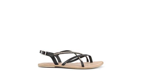 Dámské černé kožené sandály s ozdobnými pásky Toscania