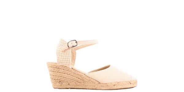 Dámské béžové sandály na klínu Azur
