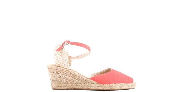 Dámské korálově červené sandály na klínu Azur