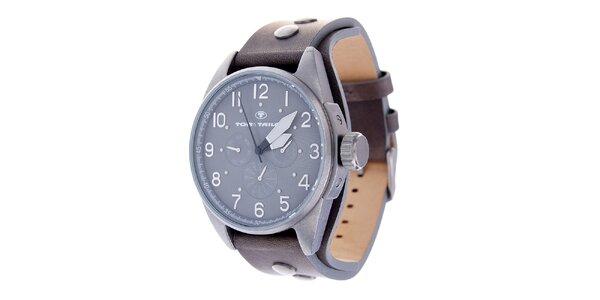 Pánské hodinky Tom Tailor s hnědým koženým řemínkem a tmavě šedým ciferníkem