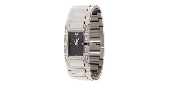 Dámské ocelové hodinky Tom Tailor s černým ciferníkem a kamínky