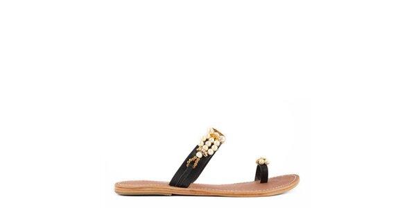 Dámské černé kožené pantofle Gardini s perličkami