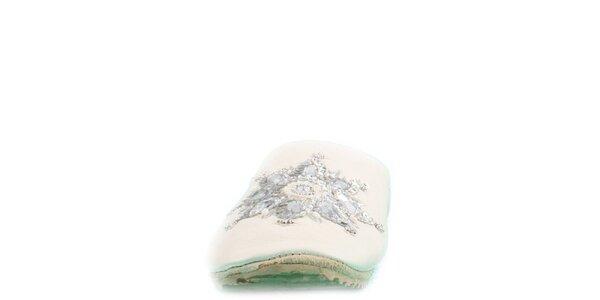 Dámské bílé kožené pantofle s květinovou aplikací Toscania