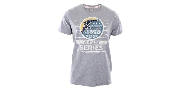Pánské šedé tričko s potiskem Goodyear