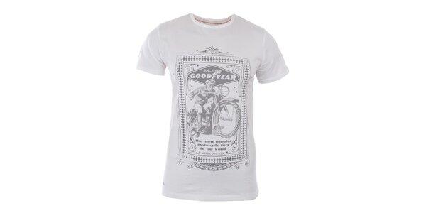Pánské bílé tričko se světle šedým potiskem Goodyear