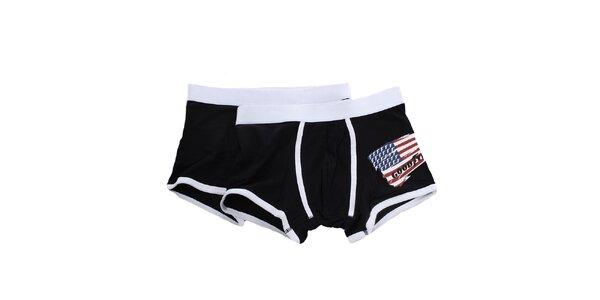 Pánská sada - dvoje černobílé boxerky s americkou vlajkou Goodyear
