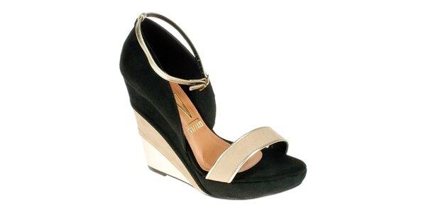 Dámské černo-béžové sandálky na klínu Vizzano