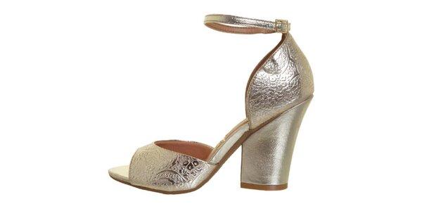 Dámské zlaté sandálky na podpatku Vizzano