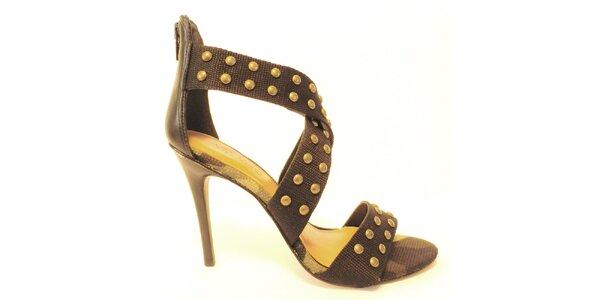 Dámské černé sandálky na podpatku s cvočky Via Uno