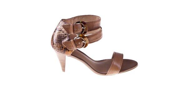 Dámské hnědé sandálky se dvěma přezkami Via Uno