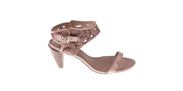 Dámské starorůžové sandálky s ozdobnou perforací Via Uno