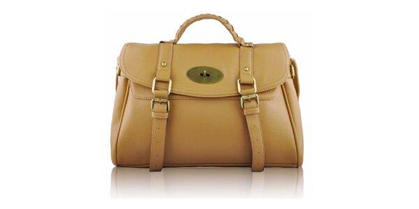 Dámská béžová kabelka s přezkami a zámečkem Nubiz