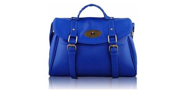 Dámská modrá kabelka s přezkami a zámečkem Nubiz