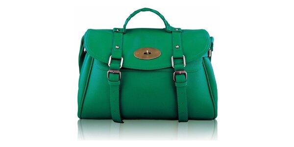 Dámská zelená kabelka s přezkami a zámečkem Nubiz