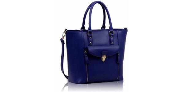 Dámská modrá kabelka se zipy Nubiz
