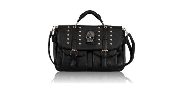 Dámská černá kabelka s lebkou Nubiz