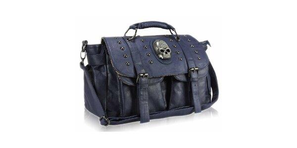 Dámská tmavě modrá kabelka s lebkou Nubiz