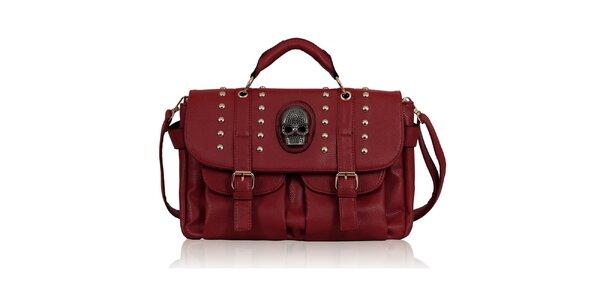 Dámská červená kabelka s lebkou Nubiz