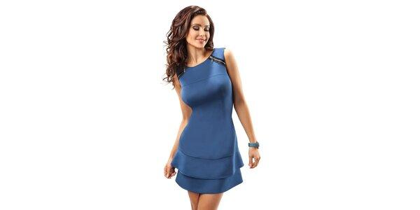 Dámské kobaltově modré šaty s volánky Enny