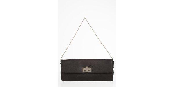 Černá obdélníková kabelka s otočnou sponou