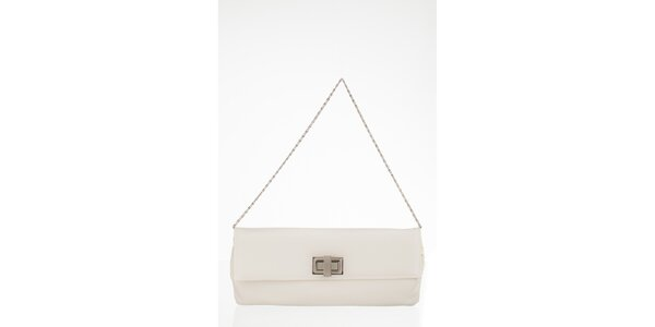 Bílá obdélníková kabelka s otočnou sponou