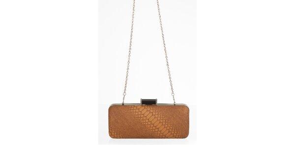 Skořicová kabelka s motivem hadí kůže