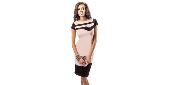 Dámské pudrové šaty s černými detaily Enny