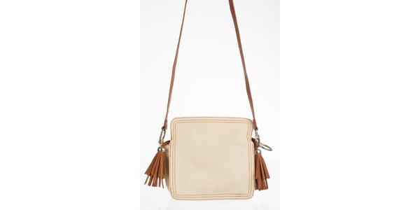 Krémová kabelka s hnědými třásněmi