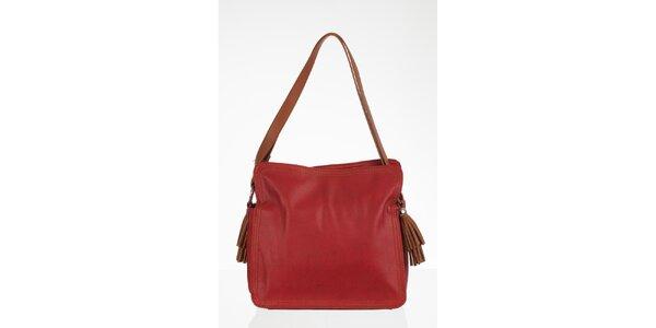 Červená čtvercová kabelka s třásněmi