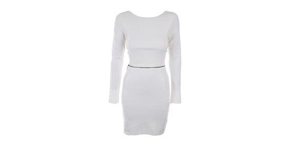 Dámské krémově bílé šaty s ozdobným zipem Melli London