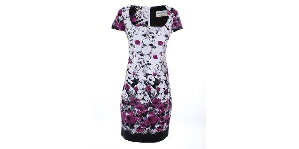 Dámské bílé šaty s fialovým potiskem Melli London
