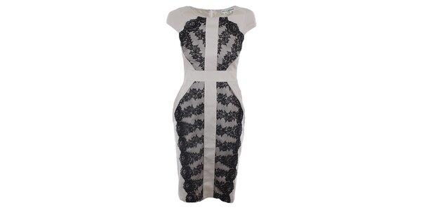 Dámské světle béžové šaty s černou krajkou Melli London