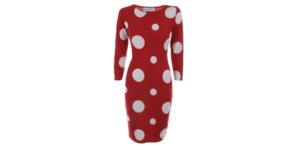 Dámské červené šaty s bílými tečkami Melli London