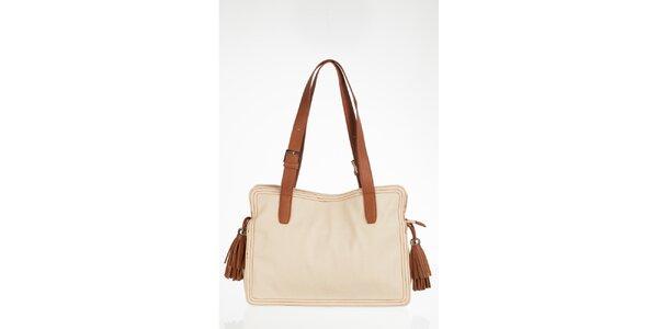 Velká bílá kabelka s třásněmi
